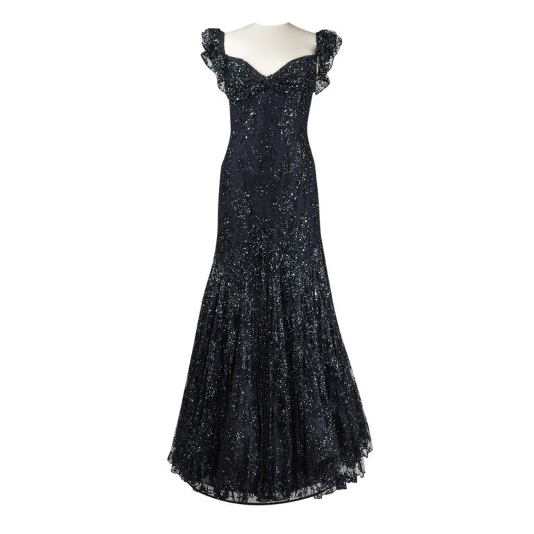 7921575d2b6 Vicky Tiel Couture Gown Navy Lace Embellished Overlay Full Length FIts 8 to  10 For Sale