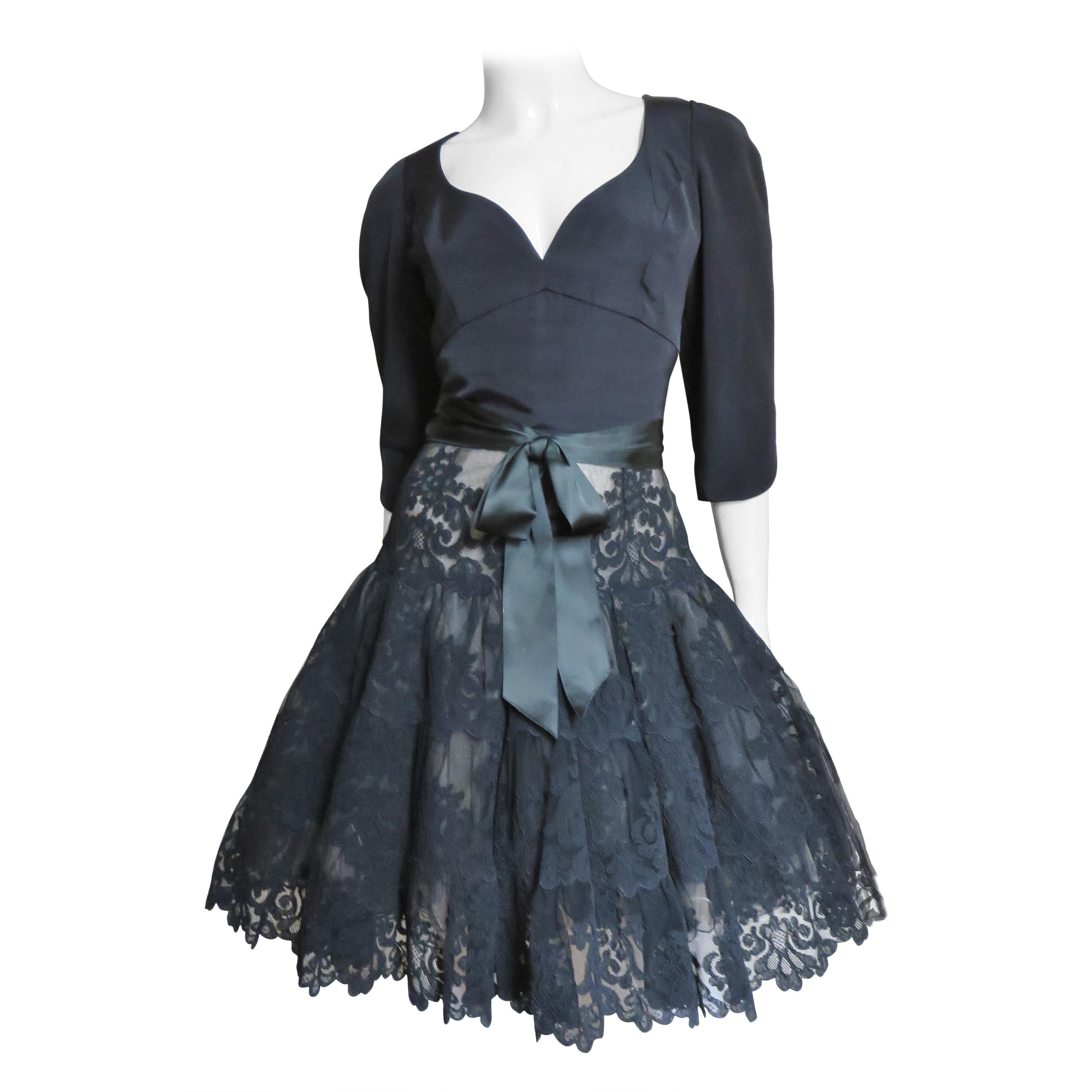 Vicky Tiel Couture Silk and Lace Full Skirt Dress