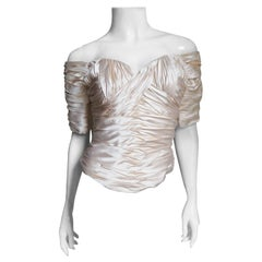 Vicky Tiel Couture Silk Ruched Corset Top 1990s