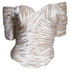 Vicky Tiel Couture Silk Ruched Corset Top
