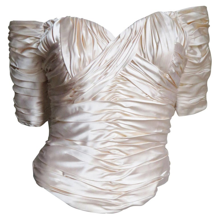 Vicky Tiel Couture Silk Ruched Corset Top  For Sale