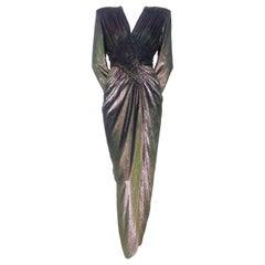 Vicky Tiel Metallic Velvet Evening Dress