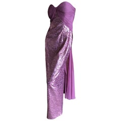 Vicky Tiel Paris 80's Lavender Pink Strapless Sequin Corseted Evening Dress Sz 4
