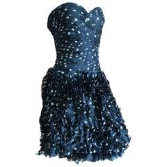 Vicky Tiel Paris 80's Strapless Polka Dot Pouf Dress Size 4