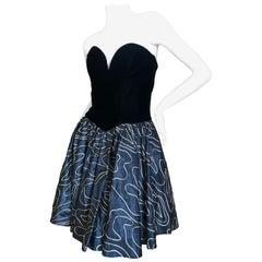 Vicky Tiel Paris 80's Strapless Velvet Corset Dress