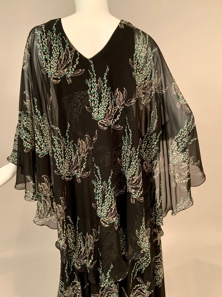 Vicky Tiel, Paris Lily of the Valley Printed Tiered Floating Silk Chiffon Dress 5