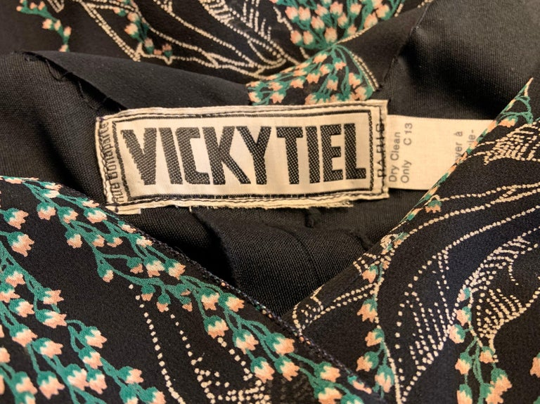 Vicky Tiel, Paris Lily of the Valley Printed Tiered Floating Silk Chiffon Dress 7
