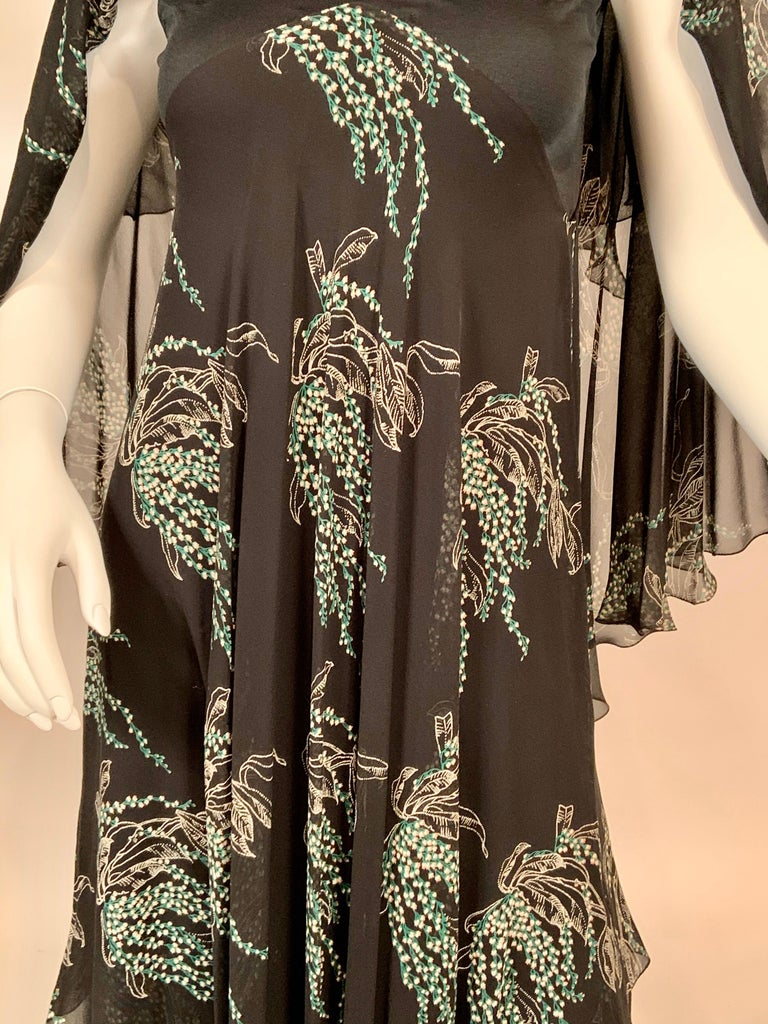 Black Vicky Tiel, Paris Lily of the Valley Printed Tiered Floating Silk Chiffon Dress