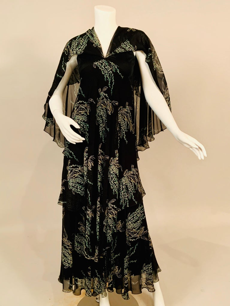 Vicky Tiel, Paris Lily of the Valley Printed Tiered Floating Silk Chiffon Dress In Excellent Condition In New Hope, PA