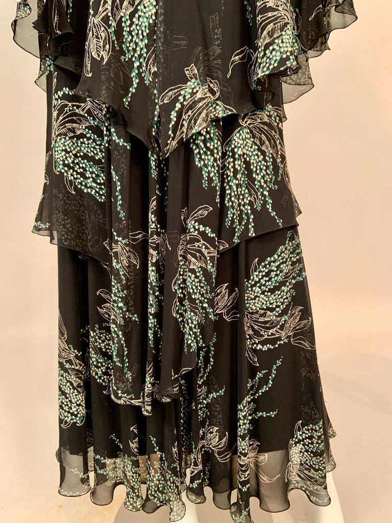 Vicky Tiel, Paris Lily of the Valley Printed Tiered Floating Silk Chiffon Dress 1