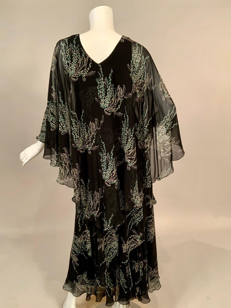 Vicky Tiel, Paris Lily of the Valley Printed Tiered Floating Silk Chiffon Dress 4