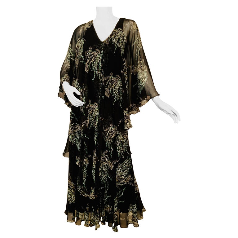 Vicky Tiel, Paris Lily of the Valley Printed Tiered Floating Silk Chiffon Dress