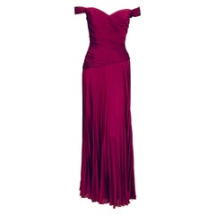 Vicky Tiel, Paris  Pleated Violet Silk Chiffon Evening Dress