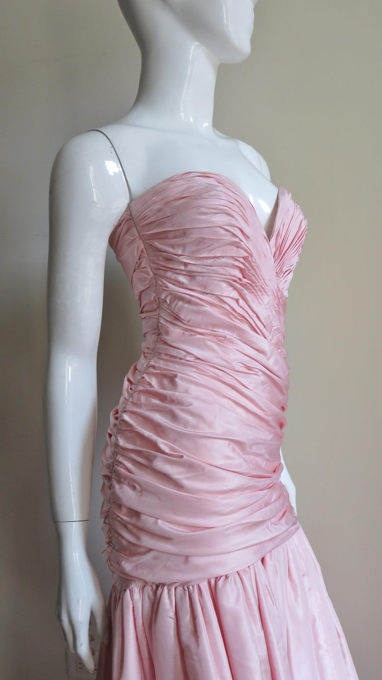 Vicky Tiel Silk Strapless High Low Bustier Dress For Sale 5