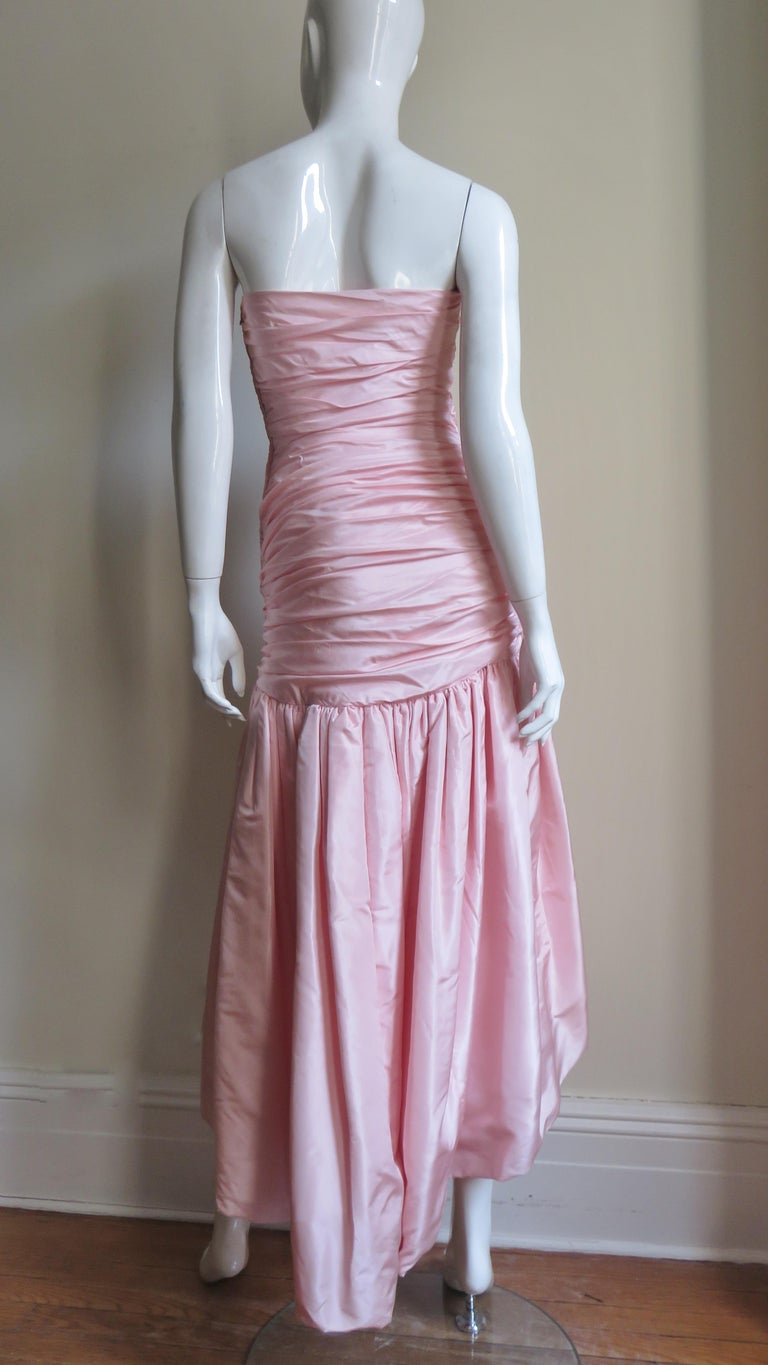 Vicky Tiel Silk Strapless High Low Bustier Dress For Sale 6