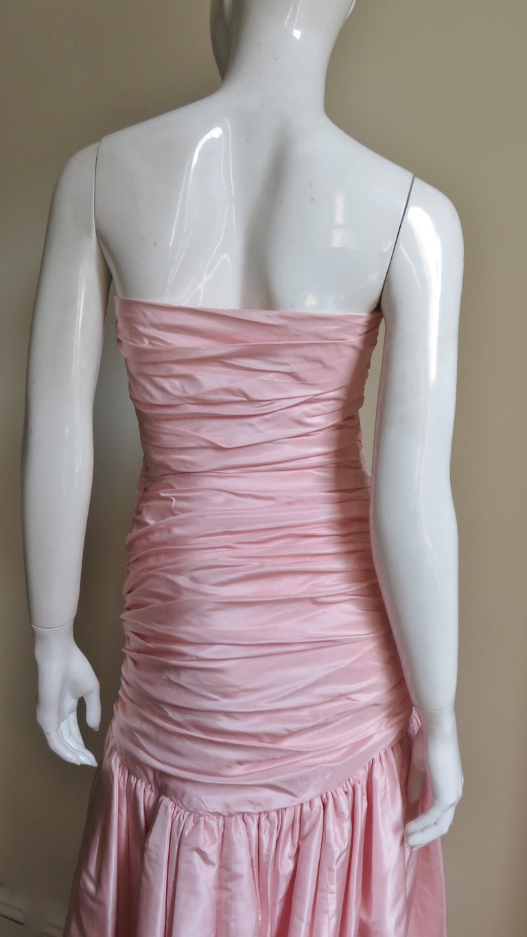 Vicky Tiel Silk Strapless High Low Bustier Dress For Sale 7