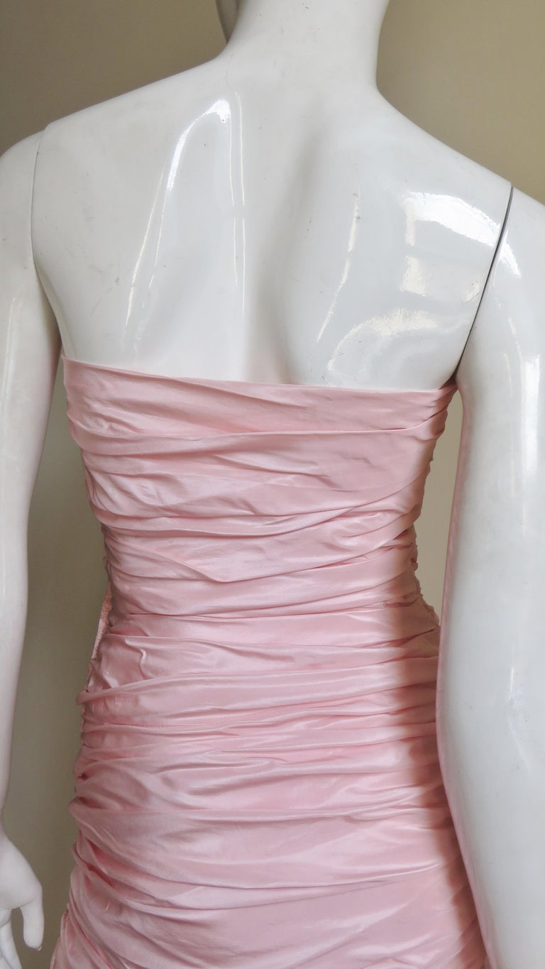 Vicky Tiel Silk Strapless High Low Bustier Dress For Sale 8