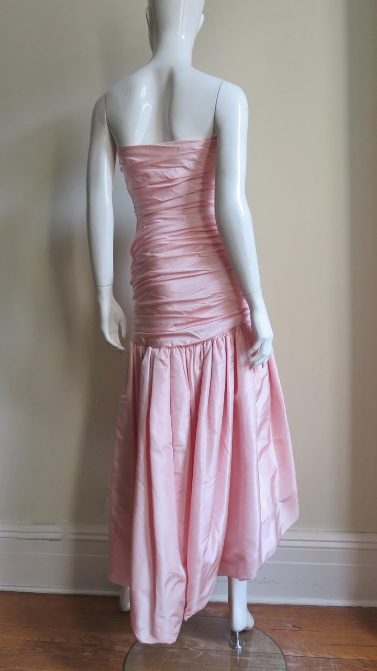 Vicky Tiel Silk Strapless High Low Bustier Dress For Sale 10