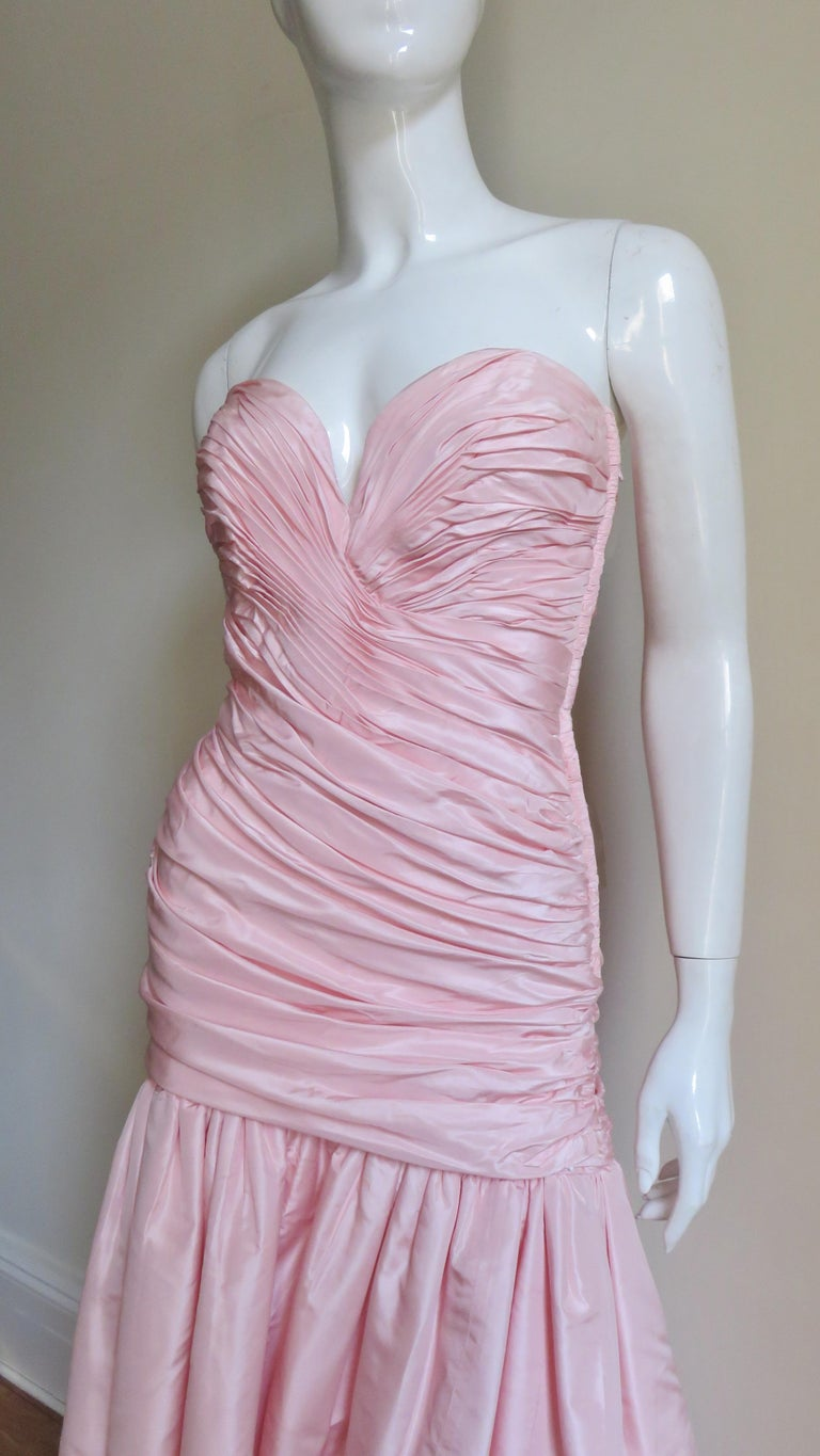 Gray Vicky Tiel Silk Strapless High Low Bustier Dress For Sale