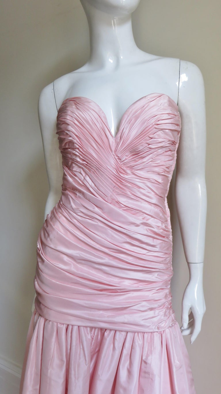 Vicky Tiel Silk Strapless High Low Bustier Dress In Good Condition For Sale In Water Mill, NY