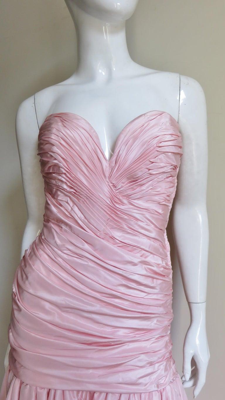 Women's Vicky Tiel Silk Strapless High Low Bustier Dress For Sale