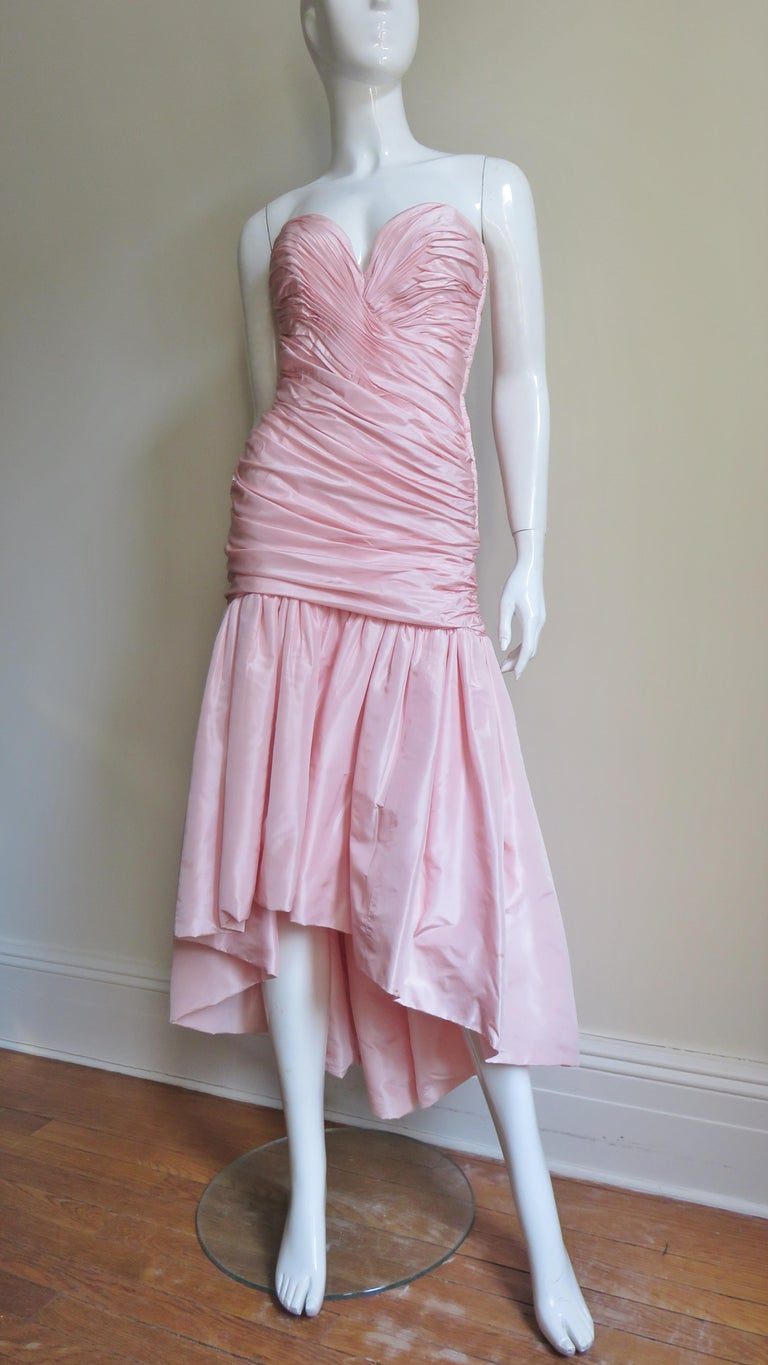 Vicky Tiel Silk Strapless High Low Bustier Dress For Sale 3