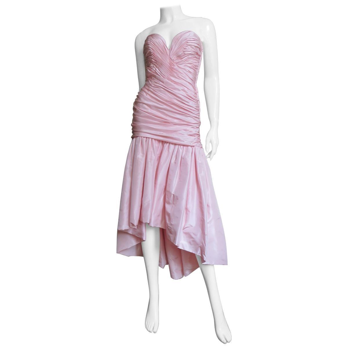 Vicky Tiel Silk Strapless High Low Bustier Dress