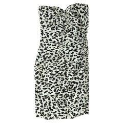 Vicky Tiel White & Black Strapless Ruched Dress