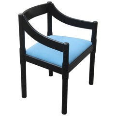 Chairs Vico Magistretti Carimate Cassina Ebony Blu Fabric Italian Design, 1960s