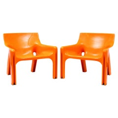 "Vico Magistretti, a Pair of Armchairs, ""Vicario"", Artemide, 1970s"