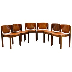 Vico Magistretti, A Set of Six Chairs, Model 122, Cassina, 1960s