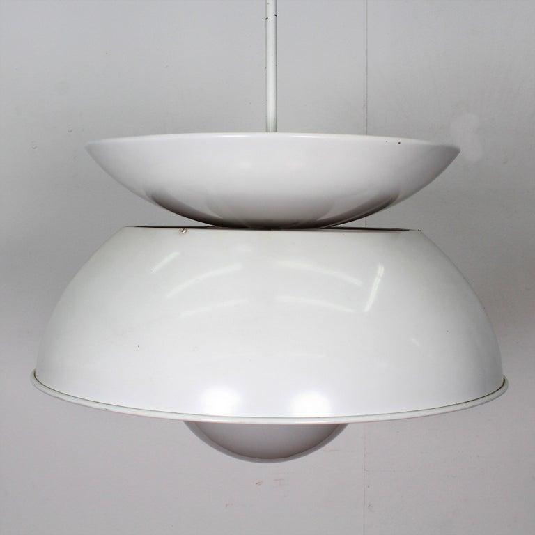 Vico Magistretti Artemide 1960 Modern Design Metal Cetra Hanging Lamp For Sale 4