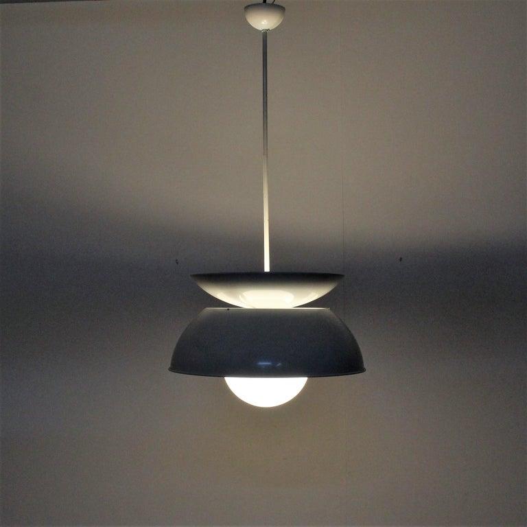 Italian Vico Magistretti Artemide 1960 Modern Design Metal Cetra Hanging Lamp For Sale