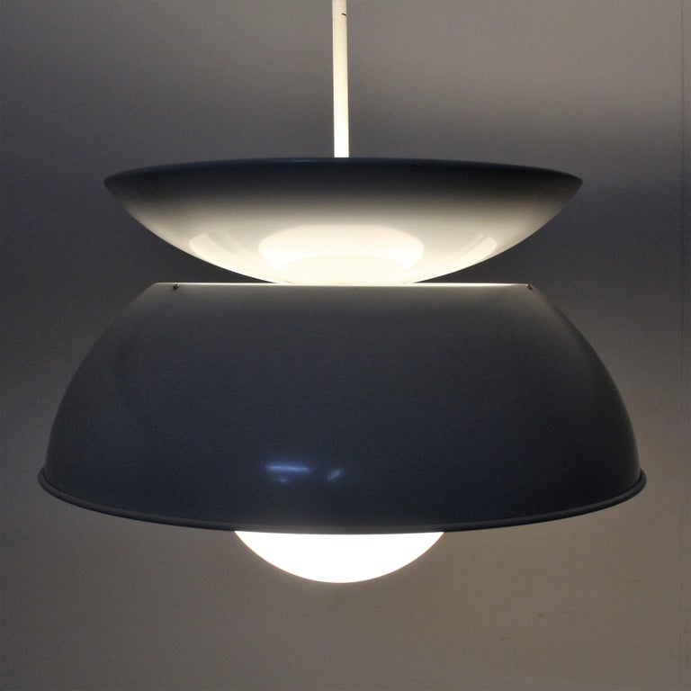 Lacquered Vico Magistretti Artemide 1960 Modern Design Metal Cetra Hanging Lamp For Sale
