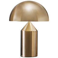 Vico Magistretti 'Atollo' Large Metal Satin Gold Table Lamp by Oluce