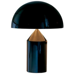 Vico Magistretti 'Atollo' Medium Black Metal Table Lamp by Oluce