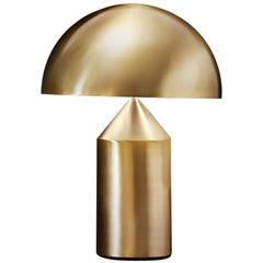 Vico Magistretti 'Atollo' Medium Metal Satin Gold Table Lamp by Oluce