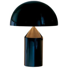 Vico Magistretti 'Atollo' Small Black Metal Table Lamp by Oluce