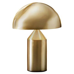 Vico Magistretti 'Atollo' Small Metal Satin Gold Table Lamp by Oluce
