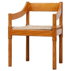 "Vico Magistretti 'Attributed' Pine ""Carimate"" Armchair with Rush Seat"