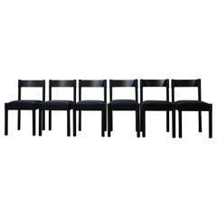 Vico Magistretti Black Midcentury Italian Dining Chairs '6'
