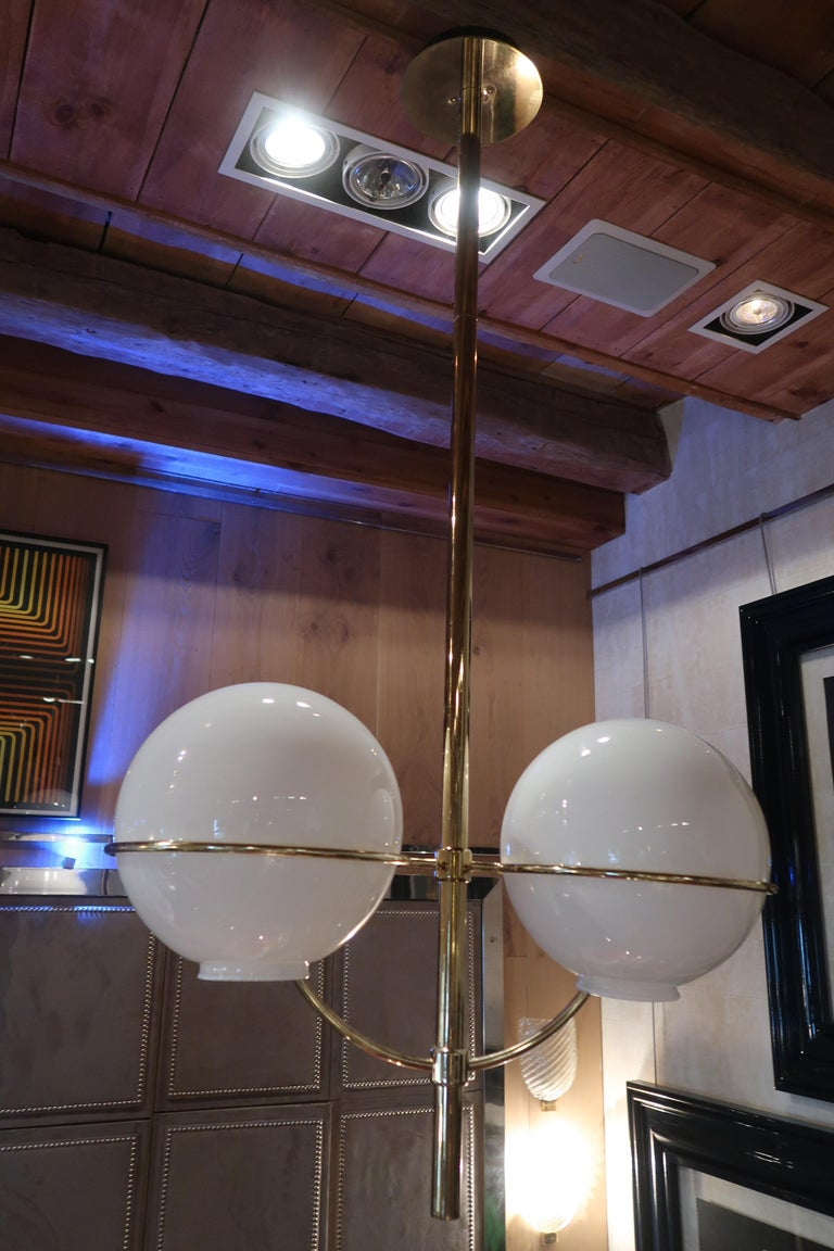 Mid-Century Modern Vico Magistretti, Brass and Opaline Glass Midcentury Ceiling Lamp, Italy, 1970 For Sale