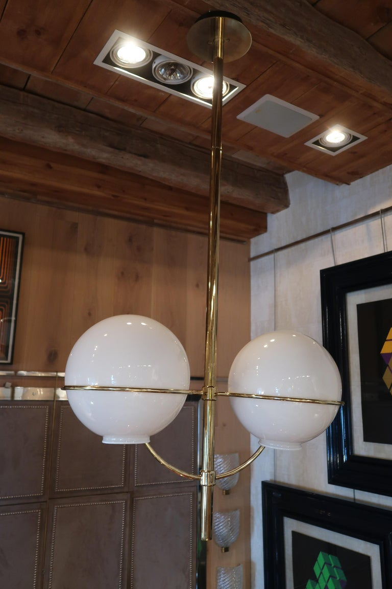 Italian Vico Magistretti, Brass and Opaline Glass Midcentury Ceiling Lamp, Italy, 1970 For Sale