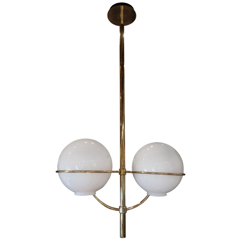 Vico Magistretti, Brass and Opaline Glass Midcentury Ceiling Lamp, Italy, 1970 For Sale