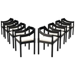 Vico Magistretti 'Carimate' Dining Chairs in Lacquered Beech