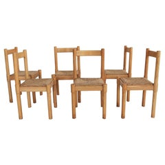 Vico Magistretti Carimate Dining Chairs in Oak and Rush for Cassina, 1970s