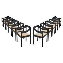 Vico Magistretti 'Carimate' Dining Chairs with Rush Seating