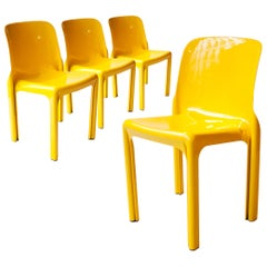 Vico Magistretti for Artemide Set of Four Yellow Selene Chairs, Italia, 1968
