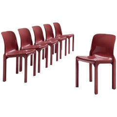 Vico Magistretti for Artemide Set of Six Dining Chairs 'Selene' in Red Fiberglas