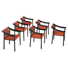 Vico Magistretti for Cassina Set of Six Early '905' Armchairs in Red Leather